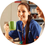 Nurse having a break with a coffee