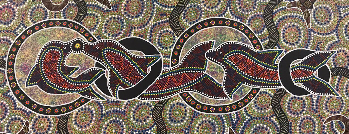 A dot painting by Indigenous artist Shannon Shaw for the Cairns QInvest office, featuring dolphins, turtles and other marine wildlife.
