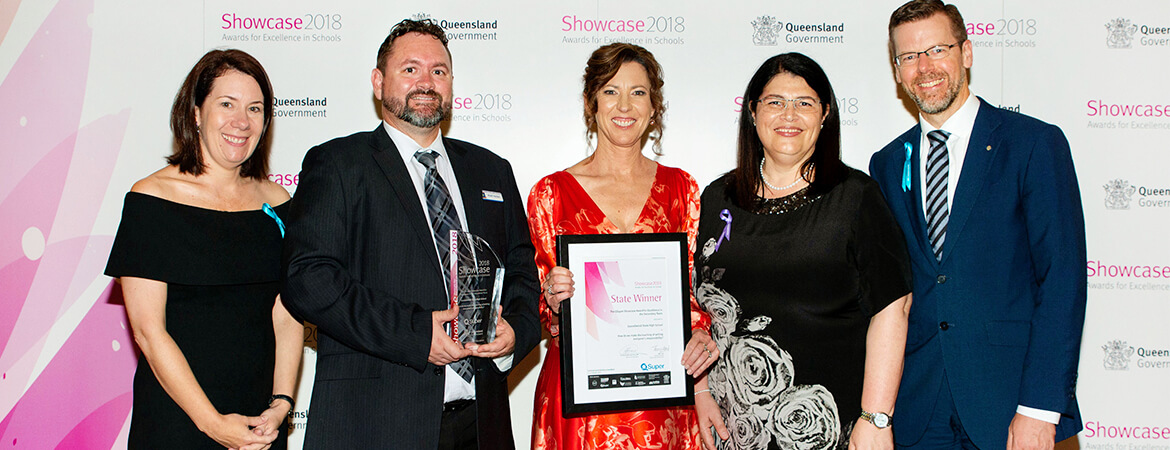 QSuper winning an award at the Queensland Government's Showcase 2018 awards night.