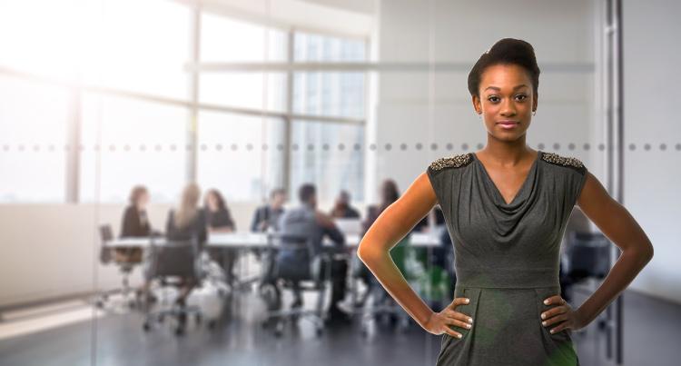 Business woman power posing