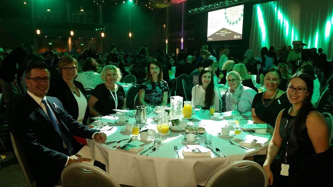 CEO Michael Pennisi and staff at the QSuper White Ribbon Breakfast event