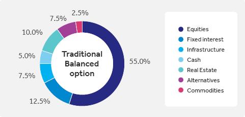 Traditional balanced option pie chart