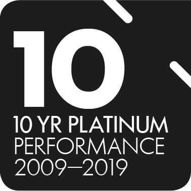 Super Ratings - 10 years of platinum performance 2019 - Awarded to QSuper Fund