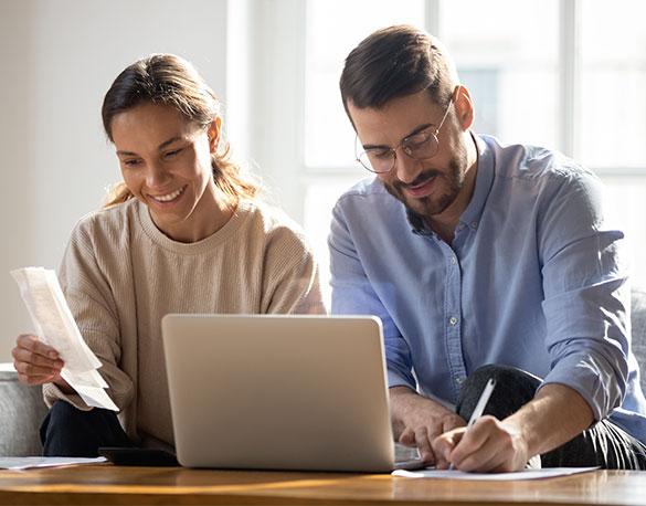Couple using computer